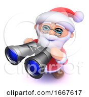 3d Funny Cartoon Father Christmas Looking Through Binoculars
