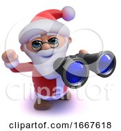 3d Funny Cartoon Santa Claus Using His Binoculars