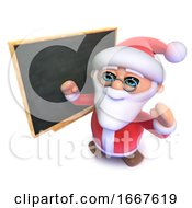 Poster, Art Print Of 3d Funny Cartoon Christmas Santa Claus Standing In Front Of A Blackboard