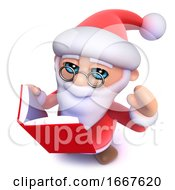 3d Funny Cartoon Christmas Santa Claus Reading A Book