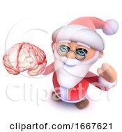 3d Funny Cartoon Christmas Santa Claus Holding A Human Brain