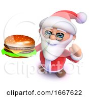 Poster, Art Print Of 3d Funny Cartoon Christmas Santa Claus Eating A Cheese Burger Fast Food Snack Meal