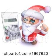 3d Funny Cartoon Christmas Santa Claus Using A Calculator