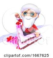 3d Cartoon Santa Takes Presents At Christmas Down The Chimney