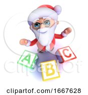 3d Funny Cartoon Santa Claus Using Alphabet Blocks
