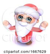 3d Funny Cartoon Father Christmas Is Cheering With Seasonal Joy