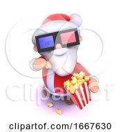 3d Cartoon Santa Eats Popcorn At 3d Movie