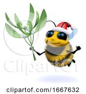 3d Santa Honey Bee With Mistletoe