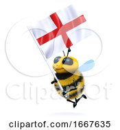 3d Bee With The Flag Of St George