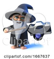 3d Funny Cartoon Magic Wizard Character Holding A Camera