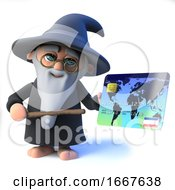 3d Funny Cartoon Wizard Magician Character Pays With A Debit Card