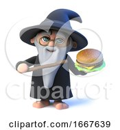 3d Funny Cartoon Wizard Magician Character Holding A Beef Burger