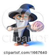 3d Funny Cartoon Wizard Magician Points To A Human Brain With His Magic Wand
