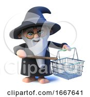 3d Funny Cartoon Wizard Magician Character Waves His Wand At A Shopping Basket