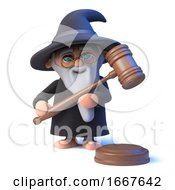 3d Funny Cartoon Wizard Magician Character Holding An Auction