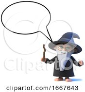 3d Funny Cartoon Wizard Magician Character With Speech Balloon