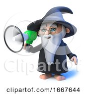 3d Funny Cartoon Wizard Magician Speaking Through A Megaphone Loudhailer