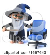 3d Funny Cartoon Wizard Magician Character Has A Vacancy