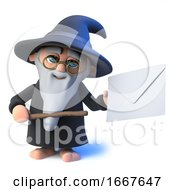 Poster, Art Print Of 3d Funny Cartoon Wizard Magician Character Points To An Envelope With His Magic Wand