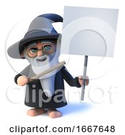 3d Funny Cartoon Wizard Magician Character Holding A Blank Placard