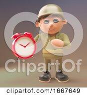 3d Cartoon Soldier In Uniform Holding An Alarm Clock 3d Illustration