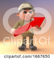 Poster, Art Print Of 3d Cartoon Army Soldier In Uniform Holding A Red Arrow 3d Illustration