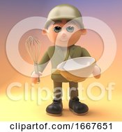 Poster, Art Print Of 3d Cartoon Army Soldier In Military Uniform Mixing A Cake In A Bowl With A Whisk 3d Illustration