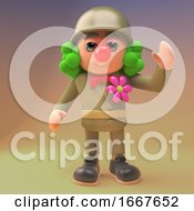 Poster, Art Print Of 3d Cartoon Army Soldier In Military Uniform Wearing A Clown Wig And Red Nose 3d Illustration