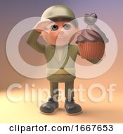 Poster, Art Print Of 3d Army Soldier In Military Uniform Salutes A Chocolate Cup Cake 3d Illustration