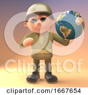 Poster, Art Print Of 3d Cartoon Army Soldier In Military Uniform Holding A Globe Of The Earth 3d Illustration