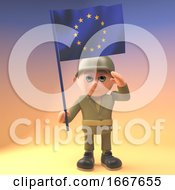 Poster, Art Print Of 3d Army Soldier Character In Military Uniform Saluting The European Flag 3d Illustration