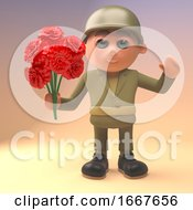 Poster, Art Print Of 3d Romantic Army Soldier In Military Uniform Holding A Bunch Of Red Roses 3d Illustration