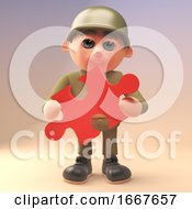 Poster, Art Print Of 3d Army Soldier Character Holding A Piece Of A Jigsaw Puzzle 3d Illustration