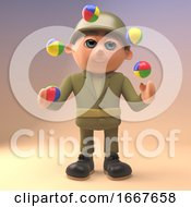 Poster, Art Print Of 3d Army Soldier Character Juggling Multi Coloured Juggling Balls 3d Illustration