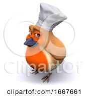 3d Cartoon Robin Bird Wears A Chefs Hat For Cooking