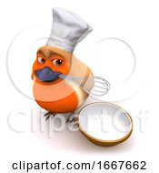 3d Cartoon Robin Bird Is Making A Cake With Whisk And Bowl