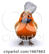 3d Cartoon Robin Bird Wearing A Chefs Hat
