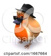3d Seasonal Christmas Robin Wears A Trilby And Smokes A Cigarette