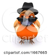 Poster, Art Print Of 3d Seasonal Christmas Robin Wears A Trilby And Smokes A Cigarette