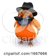 3d Seasonal Christmas Robin Wears A Trilby