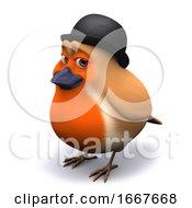 3d Seasonal Christmas Robin Wearing A Bowler Hat