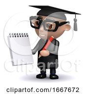 3d Graduate With Notepad And Pencil