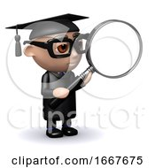 3d Graduate With Magnifying Glass
