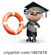 3d Graduate Holding A Lifering