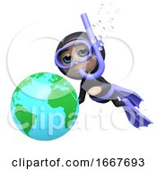 3d Diver With Globe