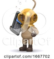 3d Deep Sea Diver Chats On A Cellphone