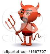 3d Devil With Trident
