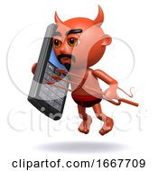 3d Devil Chats On A Mobile Phone