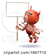 3d Devil With A Placard