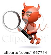 3d Devil With A Magnifying Glass